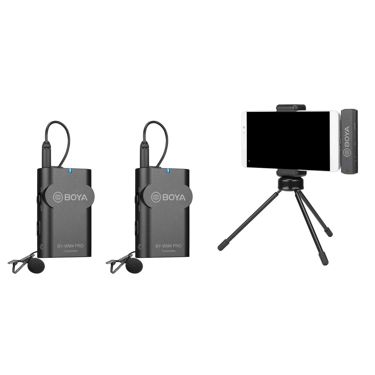 BOYA BY-WM4 PRO-K4  ДВОЙНОЙ Беспроводной петличный микрофон для iPhone, IOSc