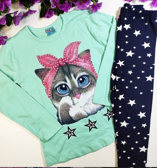 Костюм для девочки: кофта + лосины  с Кошкой