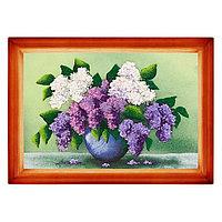 "Картина ""Сирень в вазе"" багет дерево 24х34 см, каменная крошка"