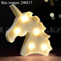 Светильник Единорог ночник белый единорог 12,5 х10,5 см 5 ламп (на батарейках)