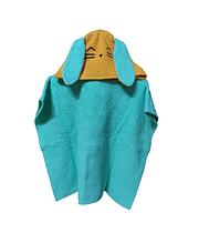 Пончо полотенце  зайка бирюзовый