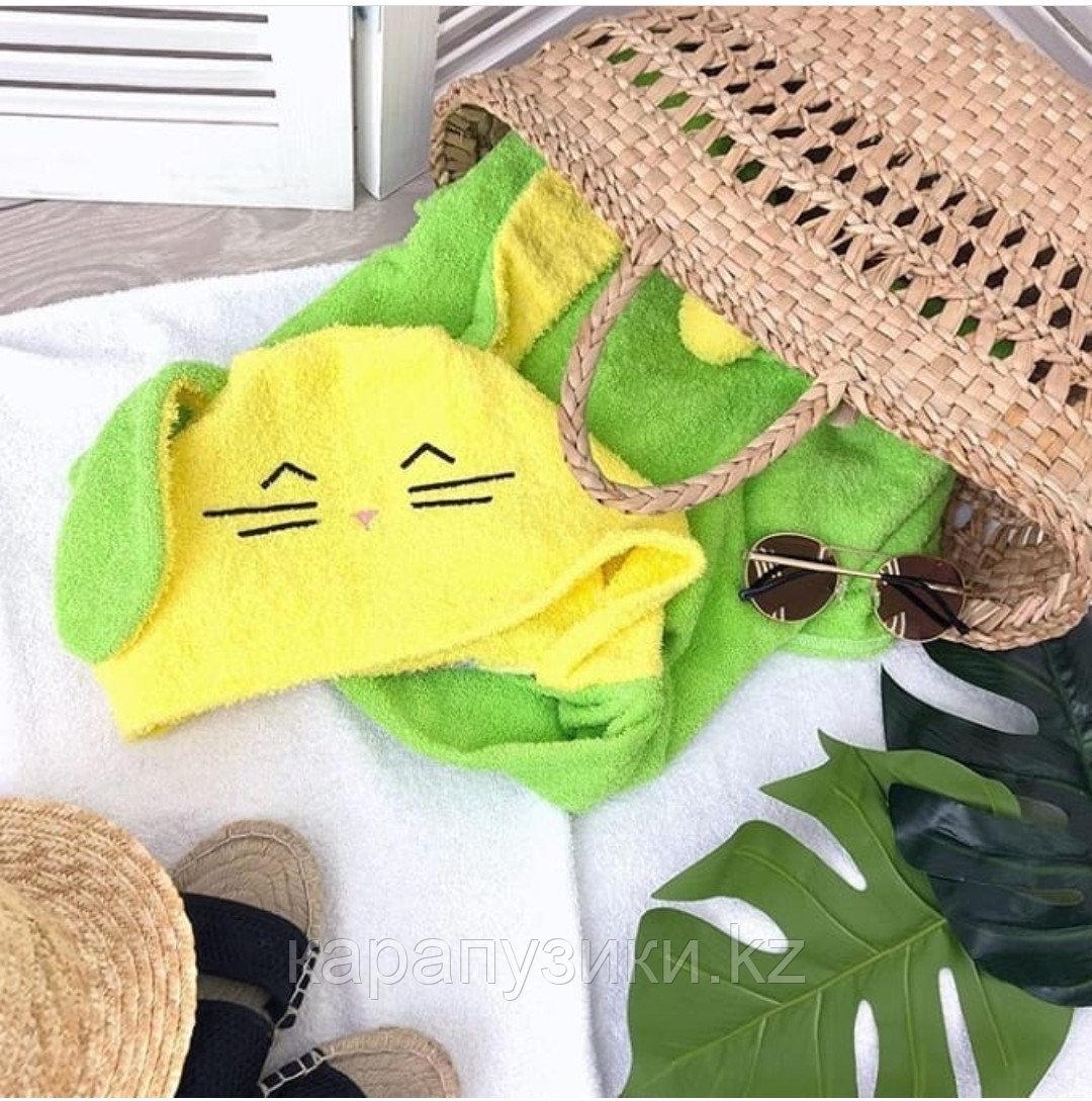 Пончо полотенце  зайка зеленый