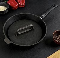 Сковорода-гриль 28 см, со съёмной ручкой, чугунная крышка, фото 1