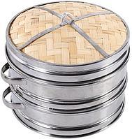 Бамбуковая пароварка Dim Sum Basket, 2 яруса в наборе с крышкой, 24см