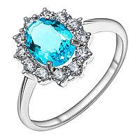 Серебряное кольцо с фианитом синт. TEOSA 100-498-T