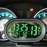 Часы-термометр-вольтметр автомобильные VST-7009V {подсветка синий/зеленый, 12В-24В}