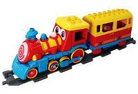 Железная дорога с паровозом и рельсами, световые и звуковые эффекты