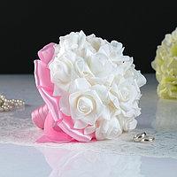 Букет-дублёр для невесты «Аврора» с латексными цветами, бело-розовый