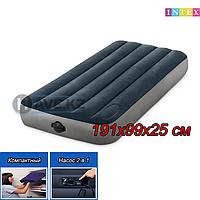 """Односпальный надувной матрас Intex 64781""""Single-High"""" с электрическим насосом, размер 191х99х25 см"""