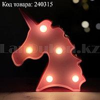 Светильник Единорог ночник розовый единорог 12,5 x 10,5 см 5 ламп (на батарейках)