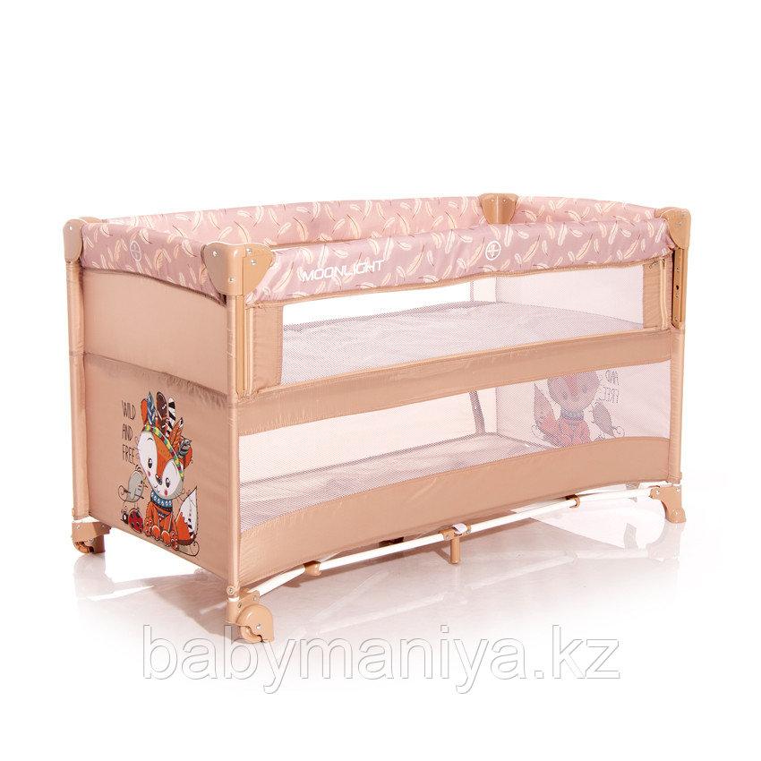 Детский манеж Lorelli Baby Cot UP and DOWN  Бежевый / Beige  Foxy 2042