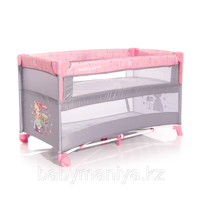 Детский манеж Lorelli Baby Cot UP and DOWN  Розовый / Pink TRAVELLING 2046