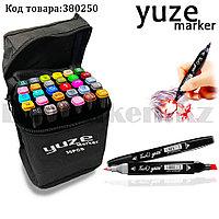 Набор маркеров художественных двухсторонних для скетчинга на спиртовой основе Yuze с чехлом 30 шт