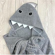 Пончо полотенце  серая акула