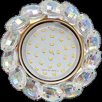 Ecola GX53 H4 Glass Круг с прозр.и янтарн.стразами Корона (оправа золото)/фон зерк../центр.часть зол
