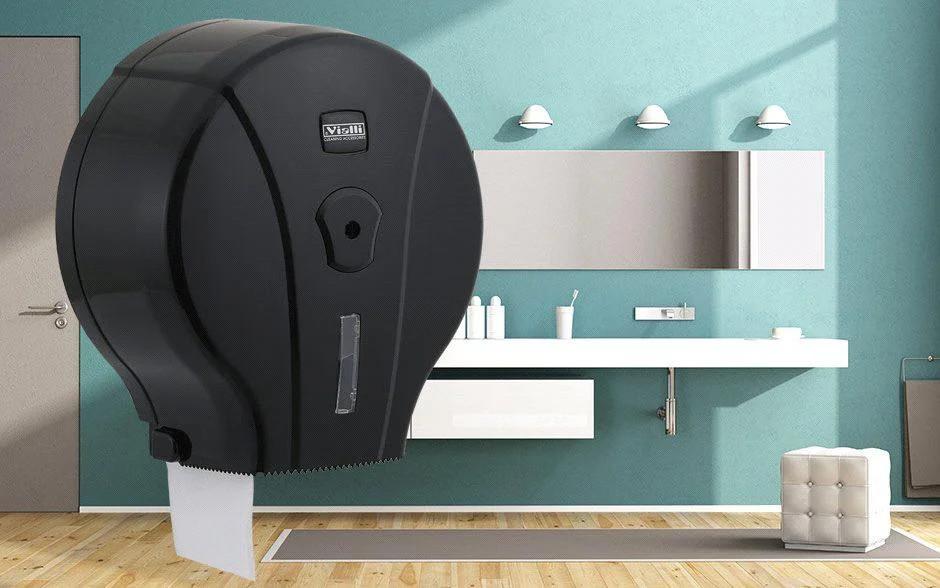 Диспенсер антивандальный для туалетной бумаги Джамбо Vialli пластиковый черный Турция Подробнее: https://zoro.