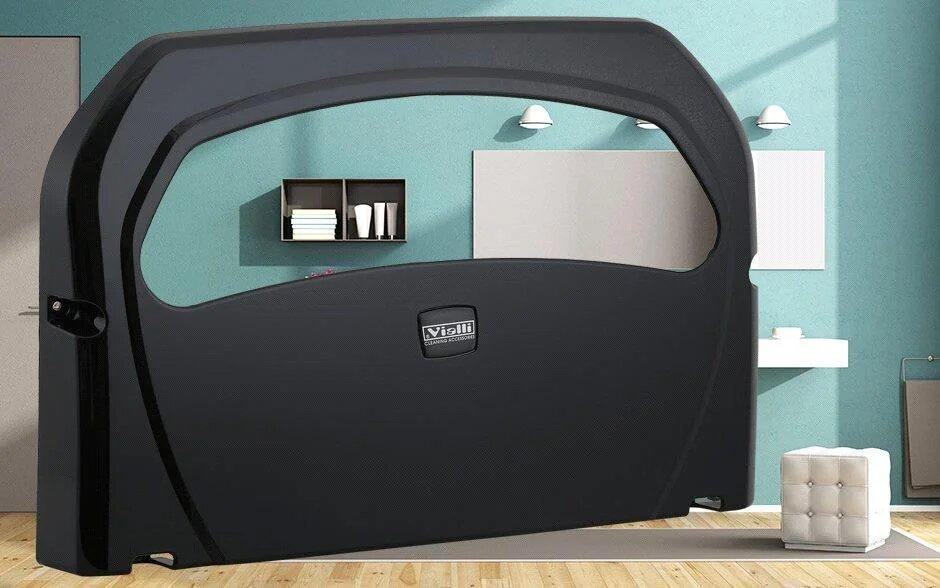 Диспенсер (держатель) для гигиенической бумаги (настил для унитаза) для крышки унитаза черный