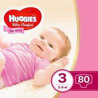 Подгузники Huggies Ultra Comfort 3 для девочек 5-9 кг 80 штук