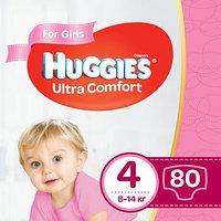 Подгузники Huggies Ultra Comfort 4 для девочек 8-14 кг 80 штук