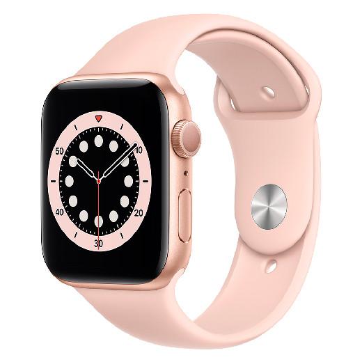 Apple Watch Series 6 GPS, 44mm Gold Aluminium Case with Pink Sand Sport Band - Regular, Model A2292