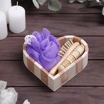 Набор банный в деревянном ушате, 3 предмета: мочалка-бант, расчёска, массажёр, цвет МИКС