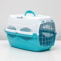 Переноска для животных до 9 кг 'Пижон', металлическая дверь, 43х29х27,5 см, бело-бирюзовая