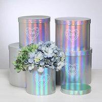 Набор шляпных коробок для цветов 5 в 1 с голографией 'Сердце любви', 14 x 13 см - 22 x 19,5 см