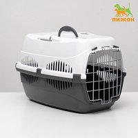 Переноска для животных до 12 кг 'Пижон' 49х33х32см, металлическая дверь, бело-серая