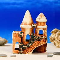 Декорация для аквариума 'Замок и башни', 8 х 13 х 16 см, микс