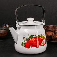 Чайник 3,5 л 'Клубника садовая', цвет белый