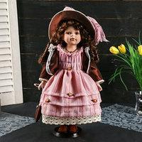 Кукла коллекционная керамика 'Кристина в персиковом платье, шоколадном джемпере' 40 см
