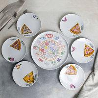 Набор блюд Добрушский фарфоровый завод 'Пицца', 7 предметов 1 шт 30 см, 6 шт 20 см, рисунок МИКС