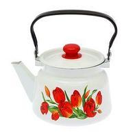 Чайник 'Тюльпаны' 2,3 л, эмалированная крышка, цвет белый