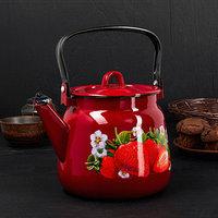 Чайник сферический 'Клубника садовая', 3,5 л, цвет вишнёвый/чёрный рябчик с петлёй