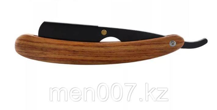 Опасная бритва-шаветта винтажная черная с деревянной ручкой