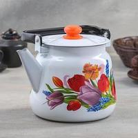 Чайник 'Тюльпан Май', 3,5 л, с кнопкой, цвет белый