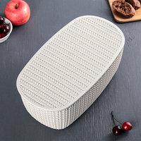 Хлебница IDEA 'Вязание', с разделочной доской, цвет белый ротанг