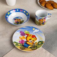Набор детской посуды Доляна 'Мишка на велосипеде', 3 предмета кружка 230 мл, миска 400 мл, тарелка 18 см