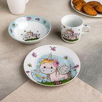 Набор детской посуды Доляна 'Единорожка', 3 предмета кружка 230 мл, миска 400 мл, тарелка 18 см