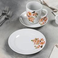 Набор посуды Добрушский фарфоровый завод 'Яблоневый цвет', 3 предмета, ф. Трио