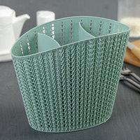 Подставка для столовых приборов 'Вязание', цвет фисташковый
