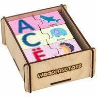 """Деревянный пазл-набор Woodlandtoys """"Алфавит Русский - живой мир"""", двойной в дер.коробке"""