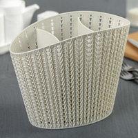 Подставка для столовых приборов 'Вязание', цвет белый ротанг