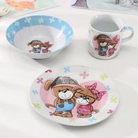 Набор детской посуды Доляна 'Щенки', 3 предмета кружка 230 мл, миска 400 мл, тарелка 18 см