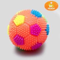 Мячик светящийся для собак 'Футбол', 6,5 см, микс цветов