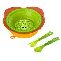 Набор посуды для кормления с нагрудником 5+ / Mum&Baby