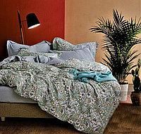 Постельное белье семейный комплект с цветочным узором и контрастным отворотом