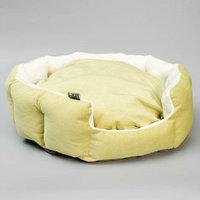 Лежанка 'Пухлик корзинка' Фисташка, большая, мебельная ткань, 50 х 50 х 20 см