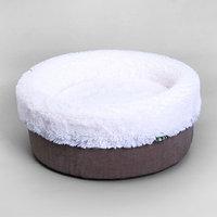 Лежанка круглая, мебельная ткань/мех, микс серо-коричневый 43 х 43 х 16 см