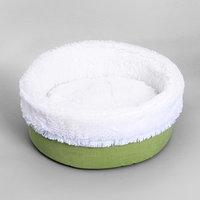 Лежанка 'Фисташка' круглая, мебельная ткань/мех, 43 х 43 х 16 см